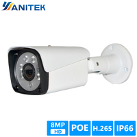 POE 8MP Ultra HD Bullet IP Camera Outdoor H.265 4K Surveillance Security Video Camera IP IR Night View Motion Detect Record