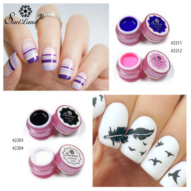 US $1 72 25% OFF|Saviland 1pcs 3D Colors Bio Gel Painting Acrylic Nail Art  Paint Kit Glitter Acrylic Uv Nail Gel Polish Set DIY 12 Color-in Nail Gel