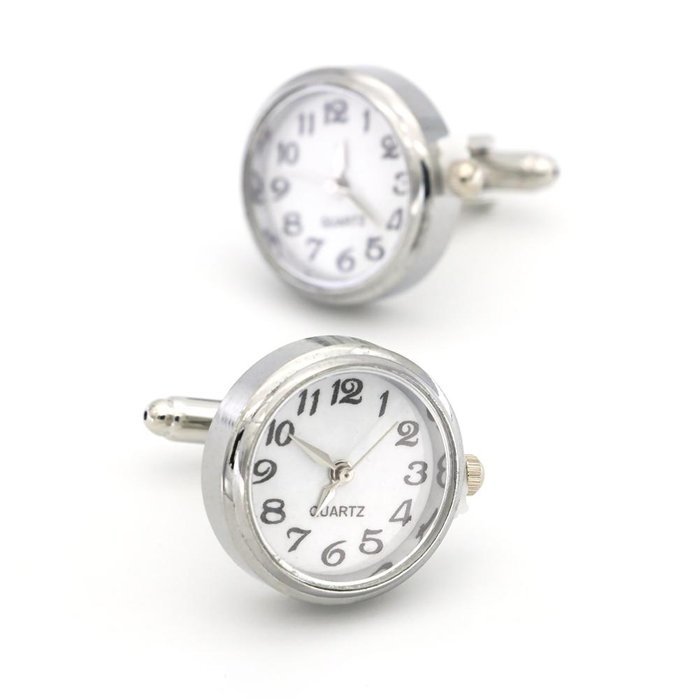 New Watch Cufflinks Real Clock Cuff Links With Battery Cufflinks Machine Core Mechanical Cuffs Relojes Gemelos Free Shipping