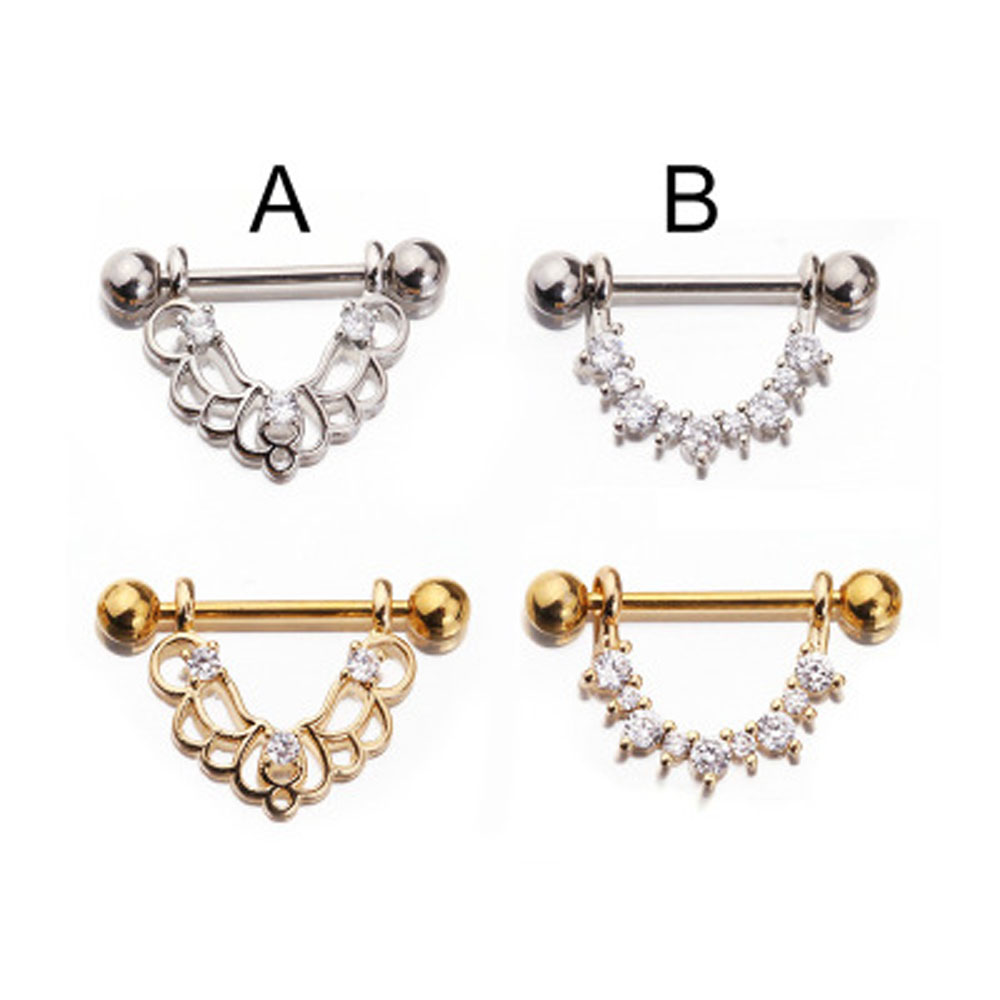 Honey 1pcs Fashion Stainless Steel Rose Gold Nipple Barbell U Shaped Water Drop Silver Sexy Nipple Ring Women Body Piercing Jewelry 100% High Quality Materials