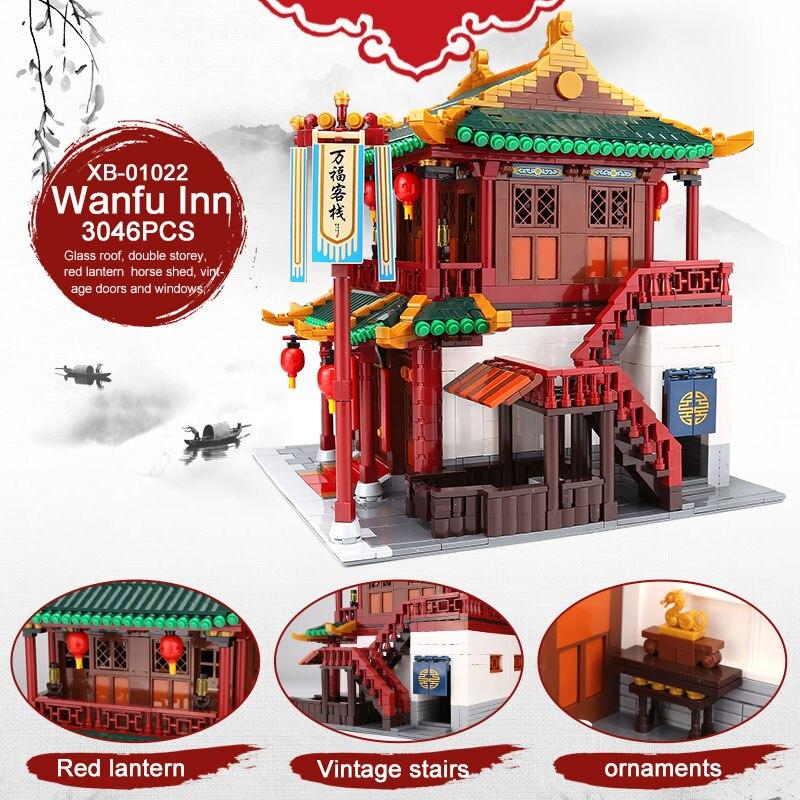 XINGBAO 01022 3046 Pcs Creatore della Serie Cinese Famosa Architettura Blocchi Il Wanfu Inn Set Blocchi di Costruzione MOC Mattoni Modello di Casa - 5