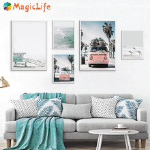 Scandinavian Tropical Landscape Sea Beach Bus Decor Wall Art Canvas Painting Nordic Posters Pictures Unframed