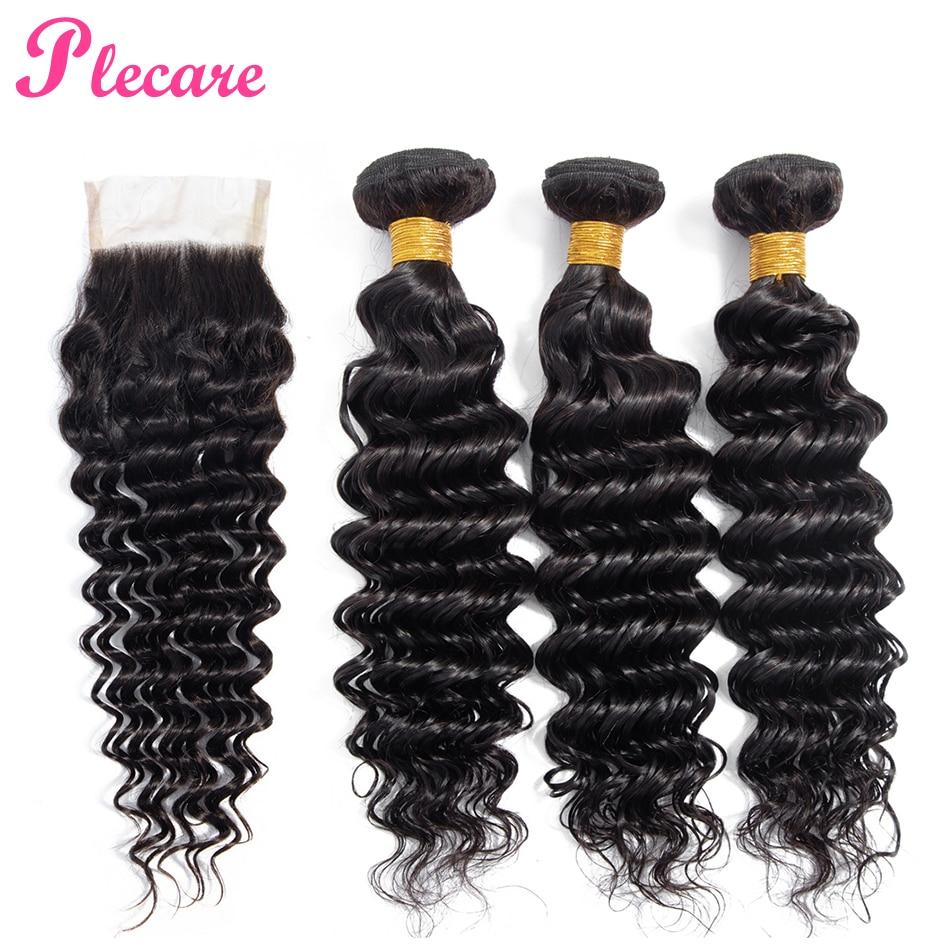 Plecare Deep Wave Bundles With Closure Malaysian 3 Bundles With Closure 100 Human Hair Weave Bundles