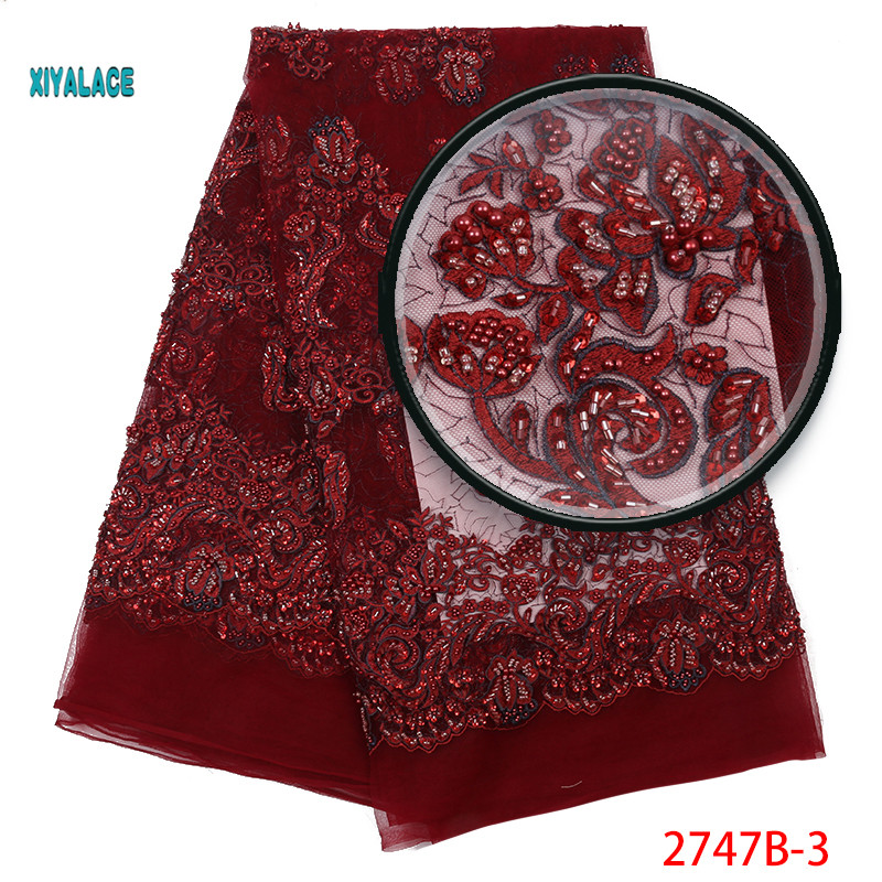 Handmade African Beaded Lace Fabric  Nigerian Laces Fabric 2019 High Quality Wine Red French Tulle Lace Fabric Women YA2747B-3