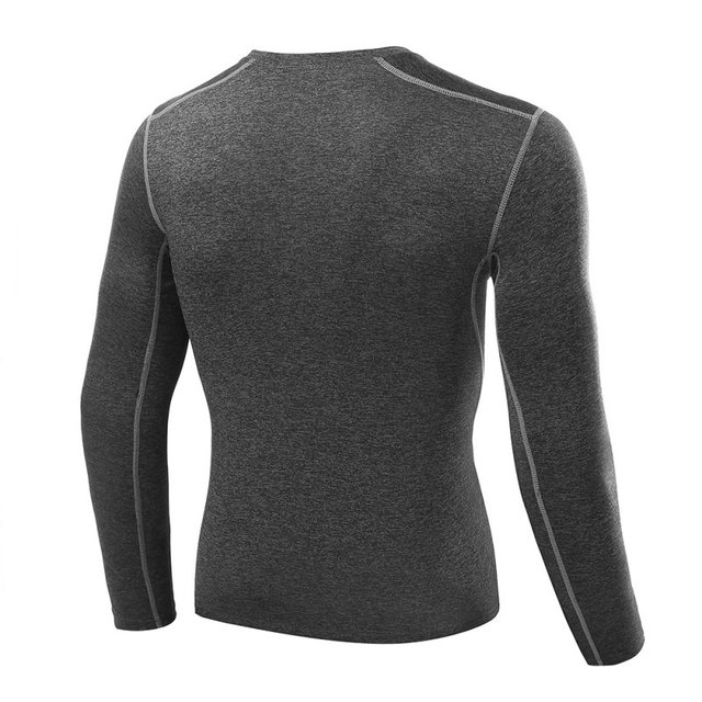 2018 New Quick Dry Men Compression Sports Shirt Long Sleeves Tshirt Fitness Clothing Solid Colorquick Dry Bodybuild Crossfit 1