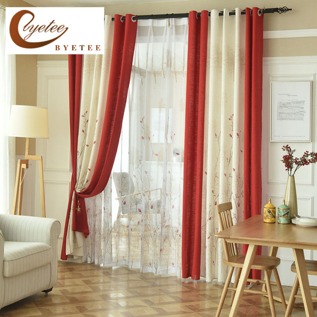Byetee} pastorale rouge Beige fenêtre rideaux occultants portes pour ...