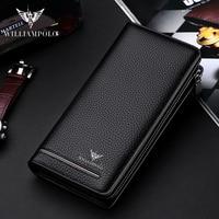 WILLIAMPOLO leather luxury brand men's wallet long wallet wallet men's men's clutch bag business storage bag wallet purse PL219