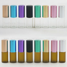 High Quality Clear Amber 3ml roll on roller bottles for essential oils roll-on refillable perfume bottle 5pcs