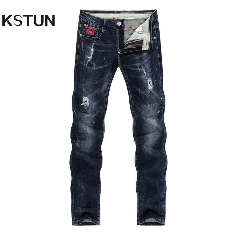 KSTUN Jeans Men Winter Ripped Distressed Straight Slim Fit Painted Stretch Patches Mens Denim Pants Biker Dark Blue Male Homme