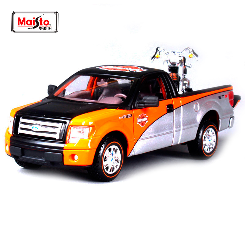 Maisto 1:27 FORD F-150 STX PICKUP With 2000 FLSTF FAT BOY Motorcycle Bike Diecast Model Car Toy New In Box Free Shipping