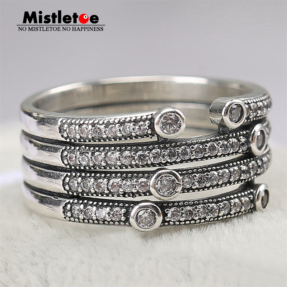 Genuine 925 Sterling Silver Shimmering Ocean, Frosty Mint & Clear CZ Ring Compatible with European Jewelry