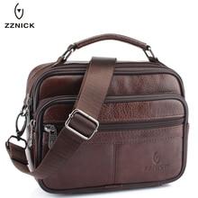 ZZNICK 2017 Genuine Cowhide Leather Shoulder Bag Small Messenger Bags font b Men b font Travel