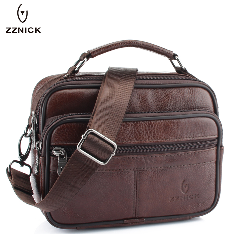 ZZNICK 2018 Genuine Cowhide Leather Shoulder Bag Small Messenger Bags Men Travel Crossbody Bag Handbags New Fashion Men Bag Flap famous brand handbags small women flap messenger bags crossbody shoulder genuine first layer of cowhide leather shell bag female