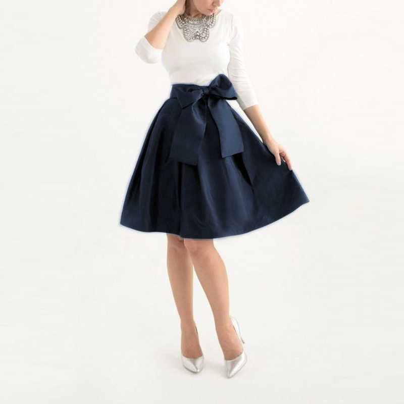 6067d1735d Dark Navy Blue Satin Knee Length Skirt Women With Wide Ribbon Sash Bow Fashion  Midi Skirts