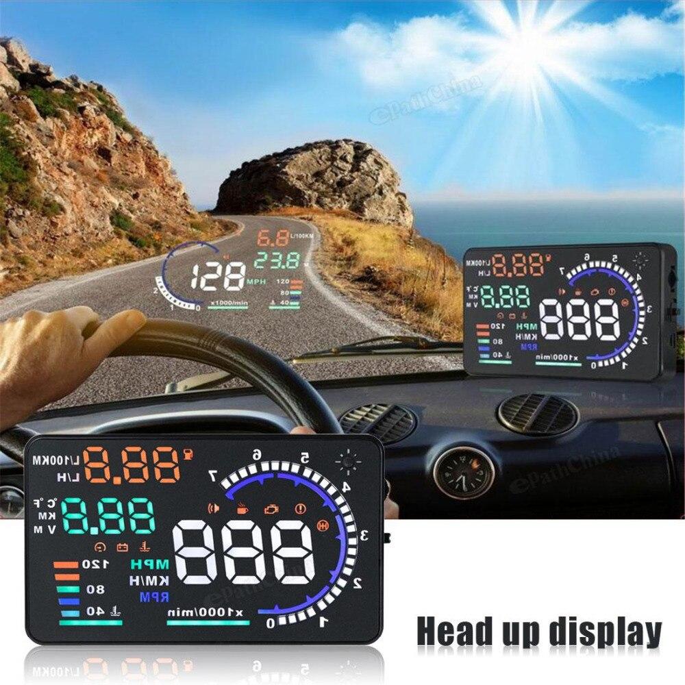 Aliexpress com buy 5 5 large screen car hud head up display system obd2 obd ii plug play a8 auto car hud head up speed display from reliable car turbo