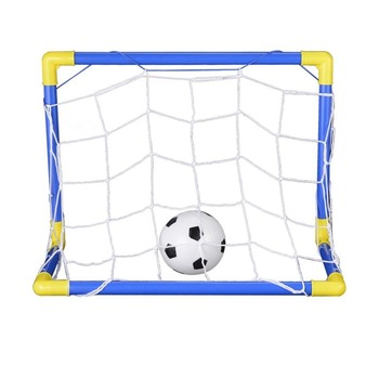 Folding Mini Football Soccer Goal Post Net Set with Pump Kids Sport Indoor Outdoor Games Toys Child Birthday Gift Plastic Hot children s soccer toys kindergarten babies indoor mini soccer indoor games indoor games indoor games toys for boys