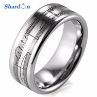 SHARDON Wedding jewelry Rings 8mm Tungsten wedding band laser Musical Notation Men's Engagement ring with silver color