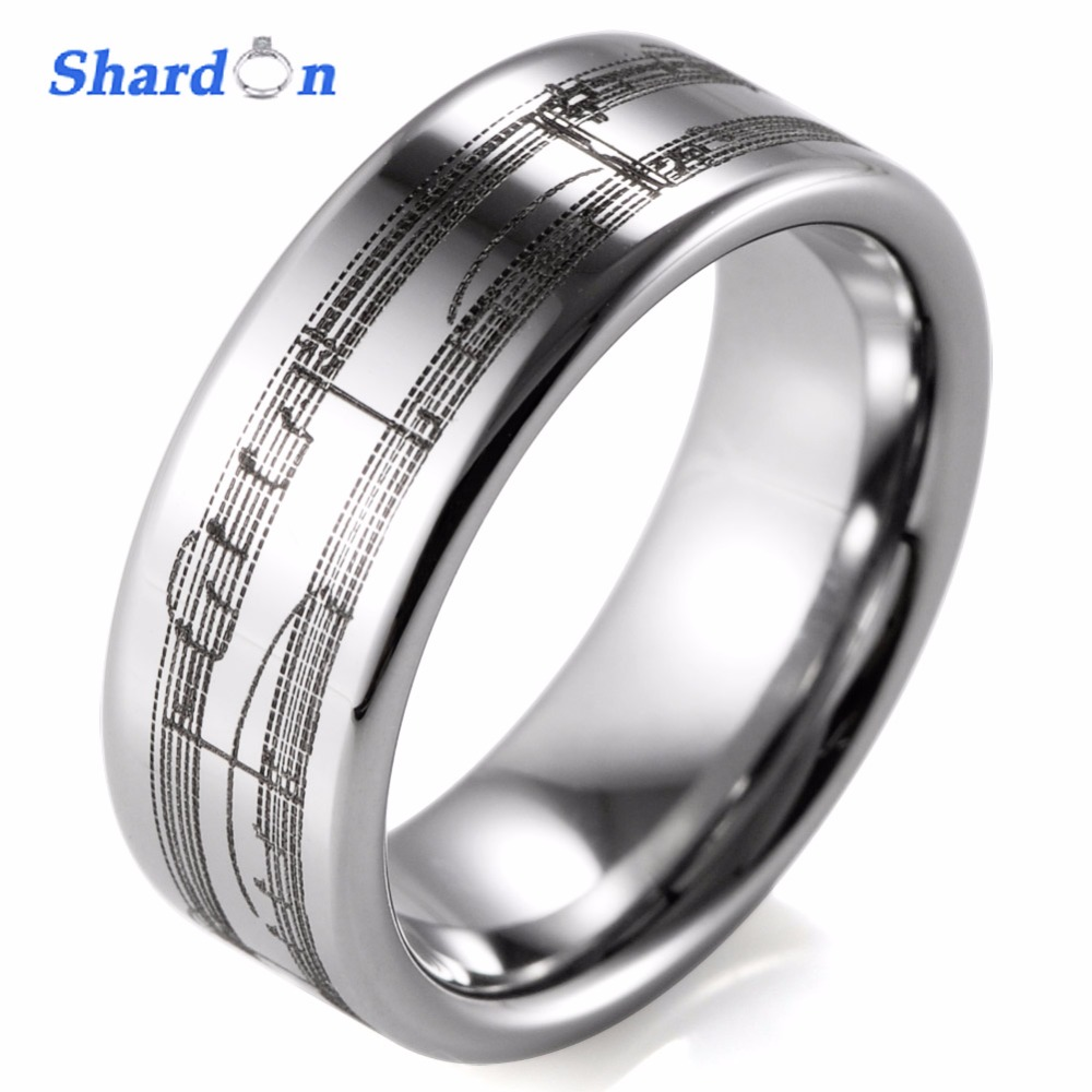 SHARDON Wedding jewelry Rings 8mm Tungsten wedding band laser Musical Notation Mens Engagement ring with silver color