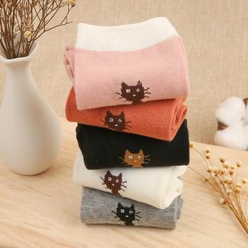 5Pcs Cotton Rose Print Women's Socks Retro Embroidery Long Colorful Funny Socks Women Drop shopping New socks Socks