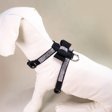 Bling Rhinestone Bow Knot Leather Dog Leash Collar Pet Puppy Lead Harness Walking Chest Strap