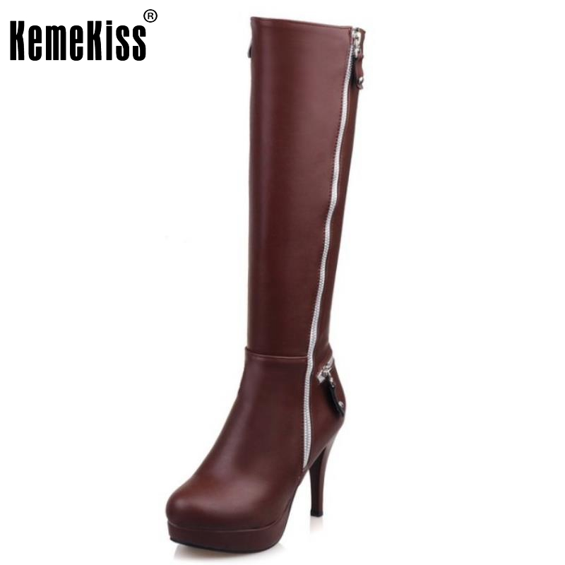 Fashion Women Knee High Boots Round Toe Platform Women Shoes Zipper Thin High Heels Shoes New Autumn Winter Boots Size 32-43 sexy women fashion boots high thin heels shoes round toe platform ladies party over the knee knight boots plus size 43
