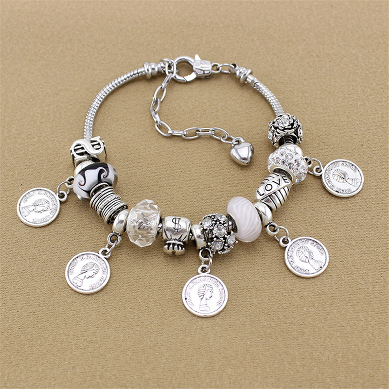 YILIANFEI Coin Pendants White Crystal/Glass Beadas Charm Bracelets & Bangles European Beads Bracelets For Women Gift BT0094