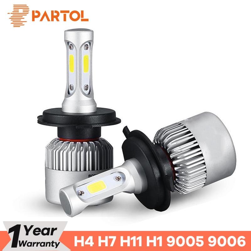 Partol S2 H4 H7 H11 H1 Auto LED Koplampen 72 w LED H7 9005 9006 H3 9012 H13 5202 COB Auto Koplamp 6500 k 12 v 24 v Wit