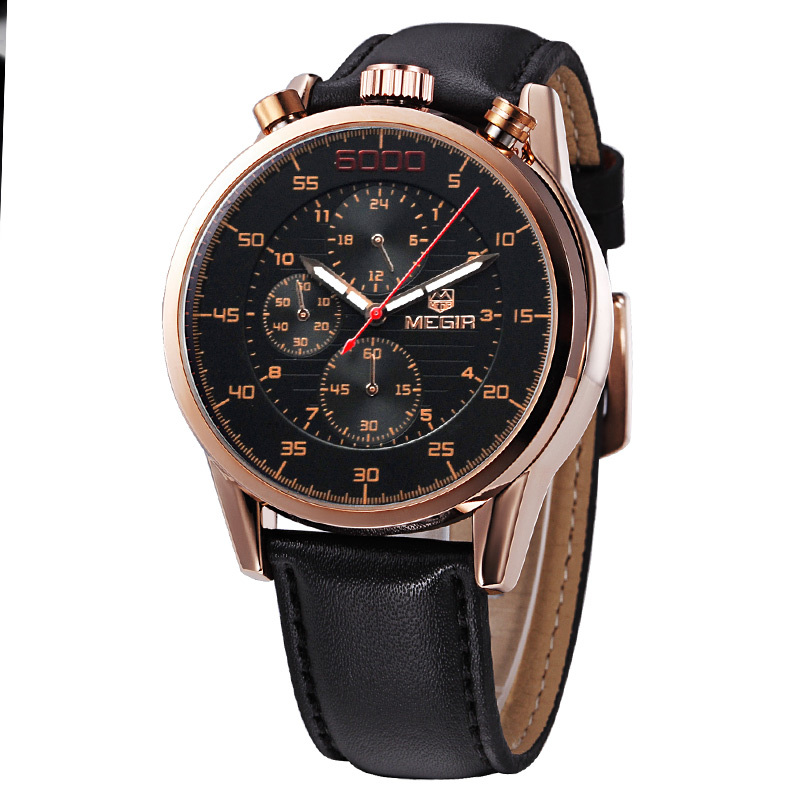 MEGIR 2514 Brand Fashion Casual Quartz Watch Luminous Chronograph Genuine Leather Straps Watches Men Free Shipping