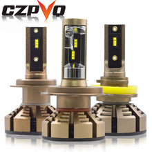 CZPVQ Mini Size H7 H4 H11 LED Bulb 72W 12000LM H8 H9 9005 9006 HB3 HB4 Car Fog Light 12V 24V 6500K Auto LED Headlamp ZES Chip(China)