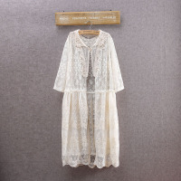 Japanese Kimono Sweet Lolita Mori Girl Harajuku Hppie Boho Crochet Tunic Beachwear Women White Lace Cardigan Blouse Summer Tops