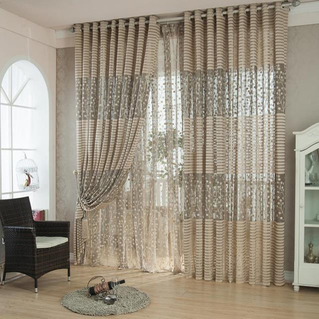 Modern Striped Voile Curtains Design Decoration Curtains Window Transparent  Tulle Curtains For Living Room Bedroom Home