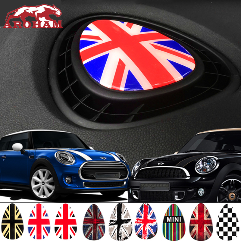 Car Interior decoration Dashboard outlet stickers Car Styling Emblem Badge for Mini Cooper Accessories F56 F55 Union Jack emblem