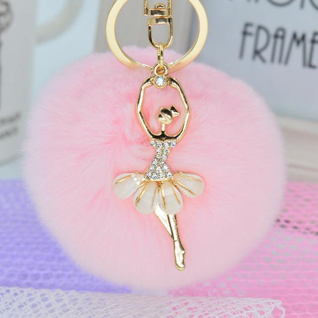 2016 Fashion Women Rabbit Fur Cony Hair Rhinestone Ball Pom Pom Charm Car Keychain Handbag Key Ring Pendant