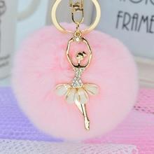 Fashion Women Rabbit Fur Cony Hair Rhinestone Ball Pom Pom Charm Car Keychain Handbag Key Ring Pendant