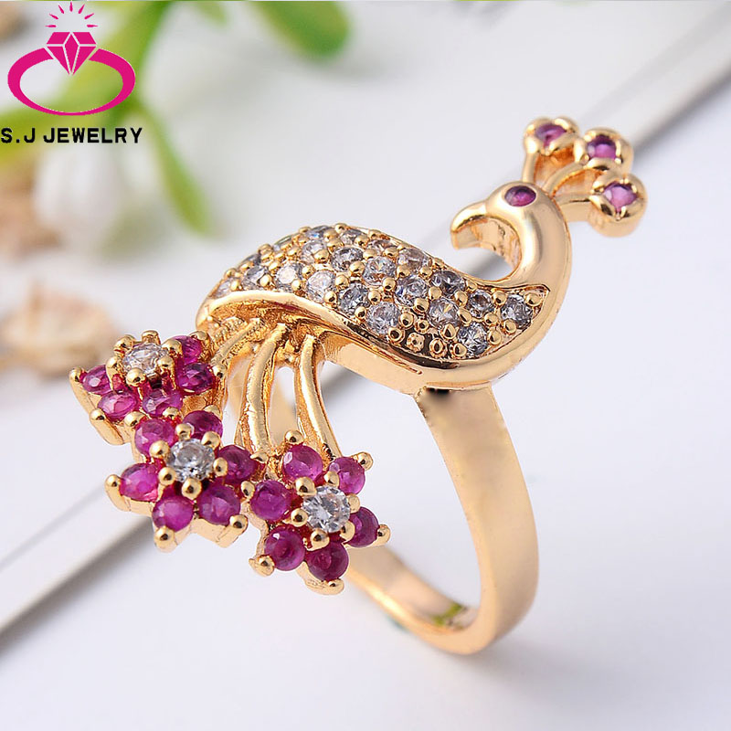 Peacock Wedding Gifts: High Imitation Gold Peacock Ring Exquisite Jewelry