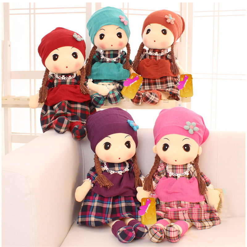 Plush Girls Dolls Cloth Soft Stuffed Toys Wearing Plaid Dress can Be Change Best Gifts for Kids Birthday for Girls 40cm le sucre wearing dress 30cm kawaii rabbit plush toys bunny stuffed dolls kids toys gifts clothes can be take off