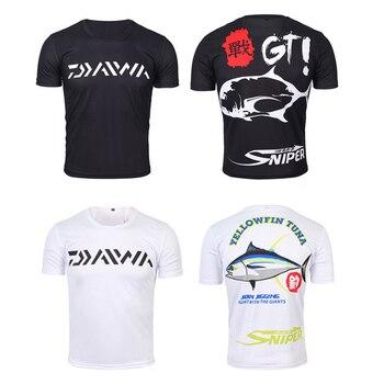 58bb47250 S-5XL de verano de los hombres de pesca camiseta Camiseta de manga corta  ropa de pesca transpirable anti-UV DAIWA de pesca Pesca camisa ropa de  envío de la ...