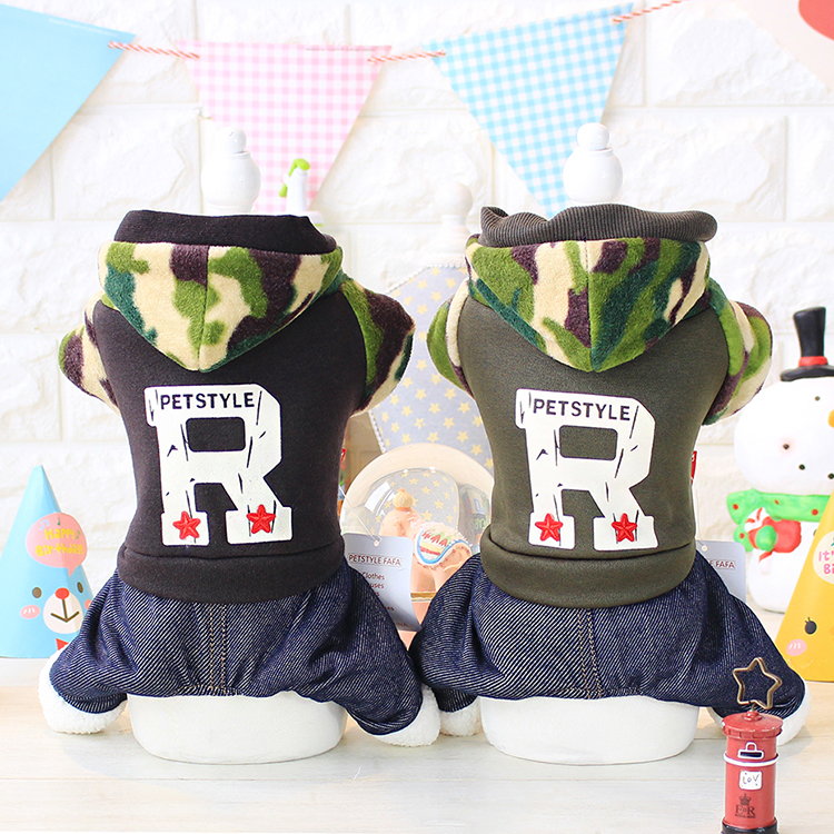 Kawaii Pet Shop R Letter Camo Dog Jumpsuits Rompers Pet Clothes Dog Sweaters Clothes for Dogs Couple Dog Clothes Hot Sale 16ZF74
