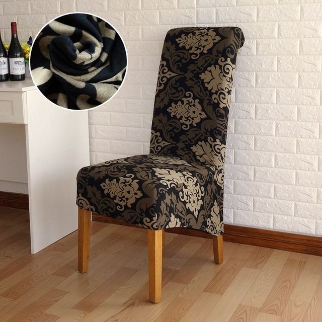 4/5/6 Pieces Long Back Chair Cover Printed Wedding Chair Covers Dining  Fundas