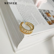 WFSVER 925 sterling silver fashion ring for women gold color with white crystal opening adjustable ring fine jewelry gift wfsver women rose gold silver 925 sterling silver ring bohemia with white crystal leaf shape ring opening adjustable jewelry