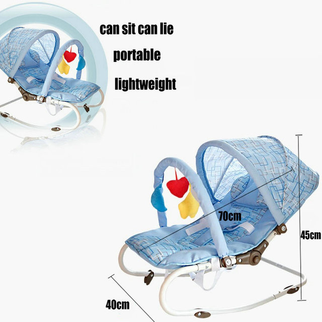Portable Baby Rocking Chair, can sit can lie Multifunctional Baby Cradle, steel pipe Baby Chair with mosquito net 5