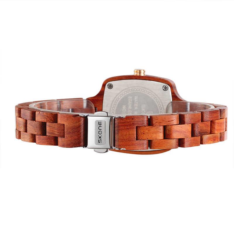 Relojes de madera para mujer SKONE, diseñador de marca superior, reloj de cuarzo de sándalo, reloj cuadrado de moda para mujer