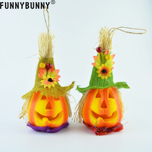 FUNNYBUNNY Pumpkin Light Up Halloween Jack O Lantern Lighted Foam Vintage Orange Decoration