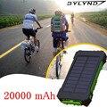 Nueva 20000 mah paquete externo de la batería banco de la energía solar portátil cargador solar dual usb cargador para xiaomi iphone/todos dispositivos usb