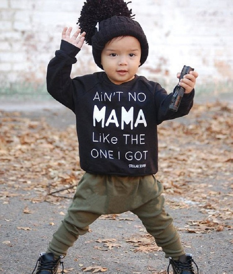 2PCS Baby boy clothes outfits set Cotton Long sleeves NO MAMA LIKE THE ONE I GOT Tops + Pants Newborn baby boy clothing 2pcs set baby clothes set boy