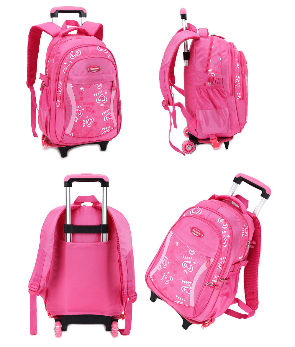 New Children Trolley Backpack School Bags For Grils Wheeled Bag Student Detachable Rolling Backpacks Women travel bag Mochila