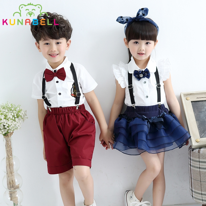 Children Summer School Uniform Wedding Suit T-shirt Skirt Bib Pants Sets Kids Boy Girl Choral Uniforms Clothing Set C002