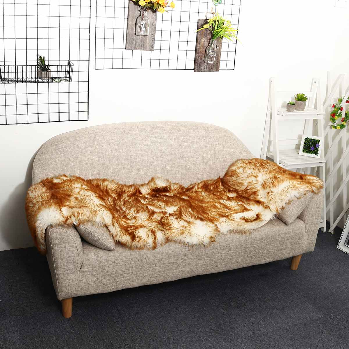 Us 26 8 33 Off Fur Artificial Sheepskin Hairy Carpet For Living Room Bedroom Rugs Skin Fur Plain Fluffy Area Rugs Bedroom Faux Mat 190x70cm In Rug