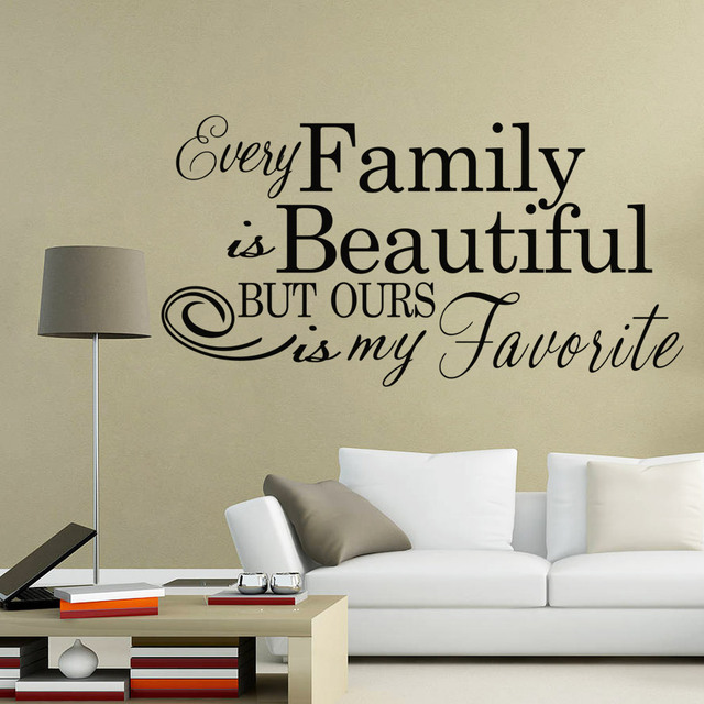 Buy every family is beautiful but ours is my favorite letters wall art stickers for Beautiful wall stickers for living room