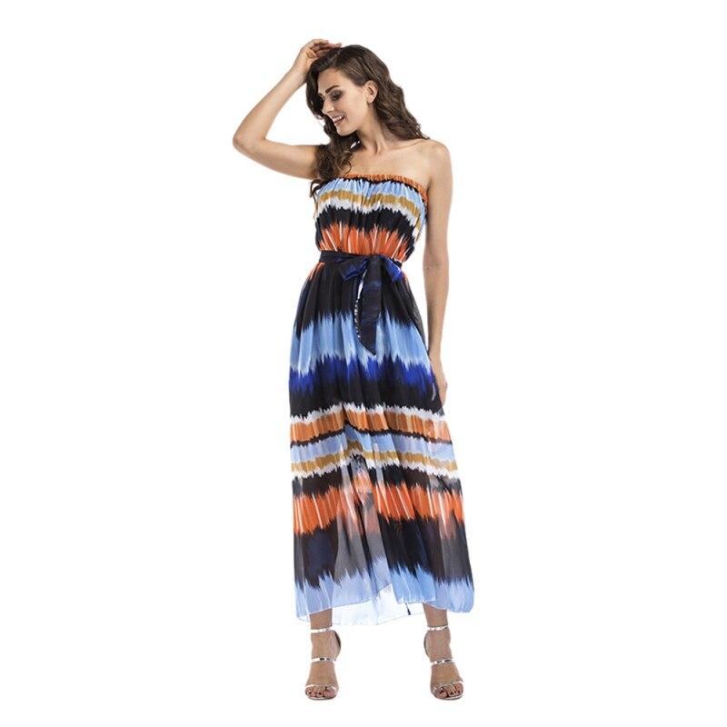 Fashion Summer Women Beachdress Long Maxi Beach Summer Dress Women Off Shoulder Boho Dress Plus Size S M L XL XXL XXXL T9